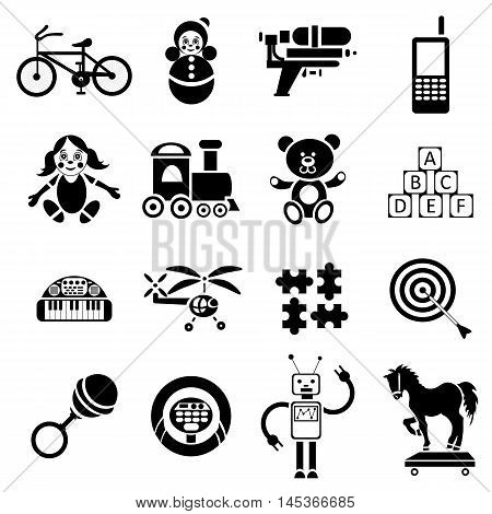 Childrens toys icons set in simple style. Toddler plaything set collection vector illustration