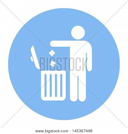 No littering use trash can vector icon isolated on white background