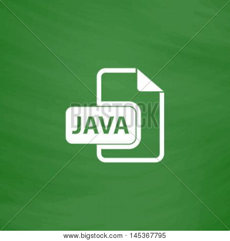 JAVA Simple line vector button. Imitation draw with white chalk on blackboard. Flat Pictogram and School board background. Outine illustration icon