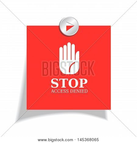 Stop red sticker vector illustration isolated on white background