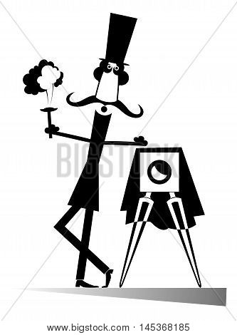 Retro photographer. Cartoon photographer requests attention and photographs