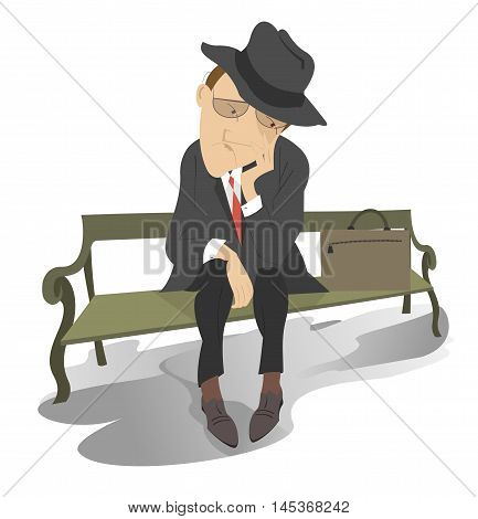 Sad man on the bench. Man in low spirits sits alone on the bench
