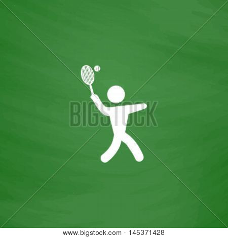 tennis Simple line vector button. Imitation draw with white chalk on blackboard. Flat Pictogram and School board background. Outine illustration icon