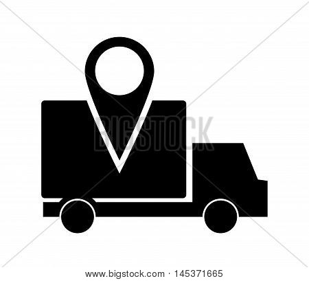 flat design truck or van with gps map pointer icon vector illustration