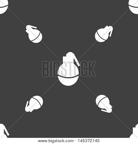 Hand Grenade Icon Sign. Seamless Pattern On A Gray Background. Vector
