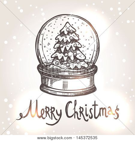 Christmas Card With Snowglobe In Sketch Style