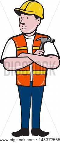 Illustration of a builder carpenter construction worker arms folded holding hammer looking to the side set on isolated white background done in cartoon style.