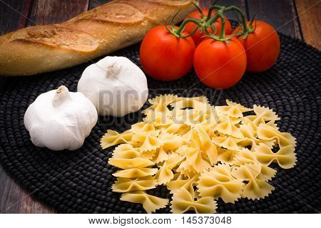 Bowtie pasta with vine ripened tomatoes and garlic