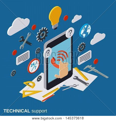 Technical service, online customer support flat isometric vector concept
