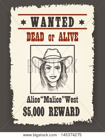 Wanted poster with Girl face in cowboy hat on dark background drawn in Retro Wild west style. Vector illustration.