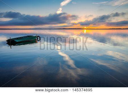 Sunrise on Lake Seliger Ostashkov Tver region Russia.