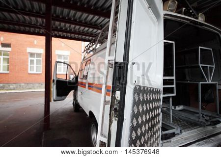 Interior of empty special car of Team of rescue workers outdoor roofed