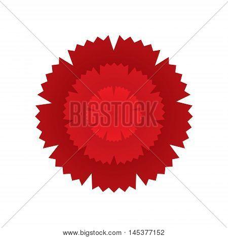 Red carnation flower icon. Geometric graphic symbol