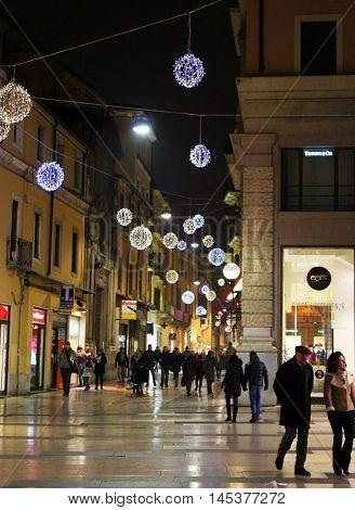 Giuseppe Mazzini street in the Christmas time December 28 2015 Verona Italy. Popular touristic european destination. Verona city view