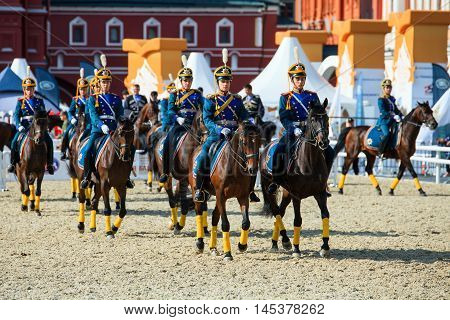 MOSCOW RUSSIA - SEPTEMBER 02 2016: Spasskaya Tower international military music festival. The Cavalry Escort of the Presidential Regiment of Russia