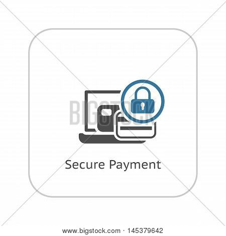 Secure Payment Icon. Flat Design Isolated Illustration. App Symbol or UI element. Laptop with Bank Card and Padlock.