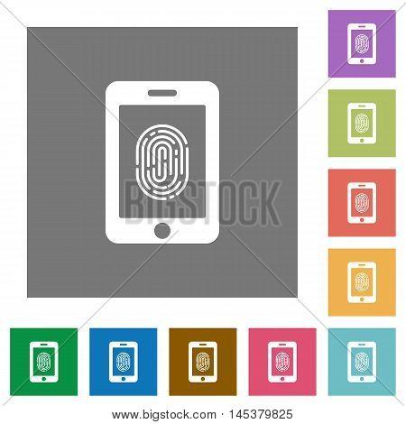 Smartphone fingerprint identification flat icon set on color square background.