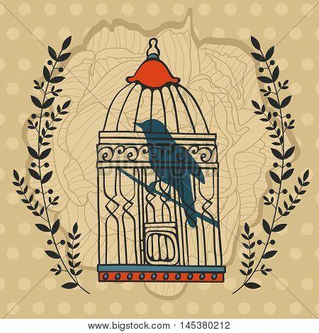 Illustration of bird in cage. Vector format