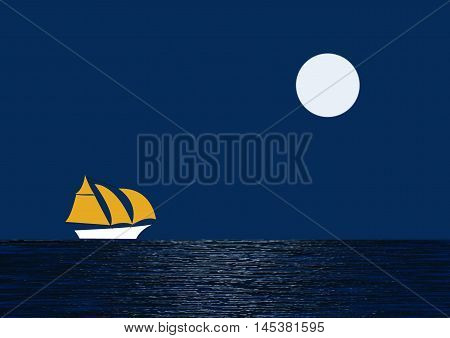 Moonlight on Water with Yacht under full sail