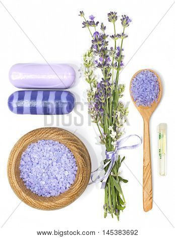 lavender, sea salt, aromatic oil and soap for Spa and aromatherapy on a white background