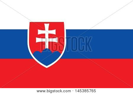 Flag of Slovakia in correct size proportions and colors. Accurate dimensions. Slovakian official flag. Slovak national symbol. Vector illustration