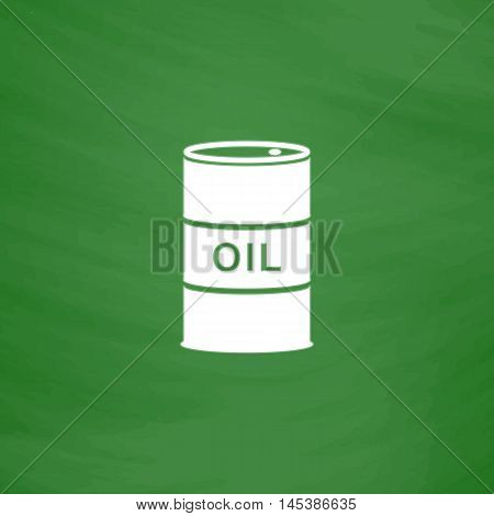 Oil barrels Simple line vector button. Imitation draw with white chalk on blackboard. Flat Pictogram and School board background. Outine illustration icon