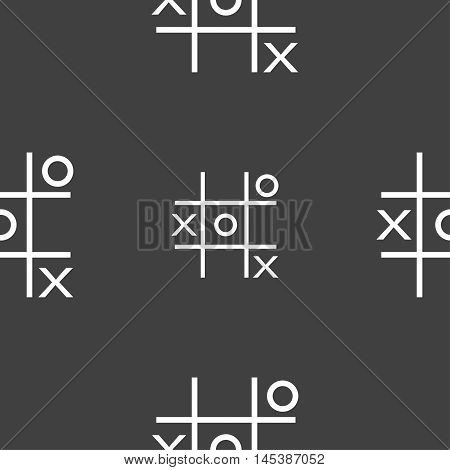 Tic Tac Toe Game Vector Icon Sign. Seamless Pattern On A Gray Background. Vector
