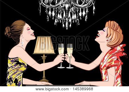 Two young happy women with champagne glasses in a night club - vector illustration