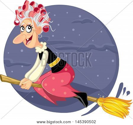 Funny Halloween Wicked Witch Flying on a Broomstick Vector Cartoon Illustration