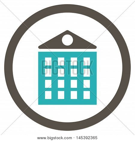 Multi-Storey House rounded icon. Vector illustration style is flat iconic bicolor symbol, grey and cyan colors, white background.