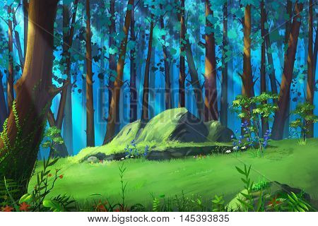 A Clearing in the Mysterious Woodland. Video Game's Digital CG Artwork, Concept Illustration, Realistic Cartoon Style Background