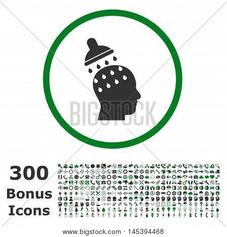 Brain Washing rounded icon with 300 bonus icons. Glyph illustration style is flat iconic bicolor symbols, green and gray colors, white background.