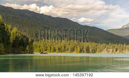 Mountains And Green Lake Near Whistler Canada