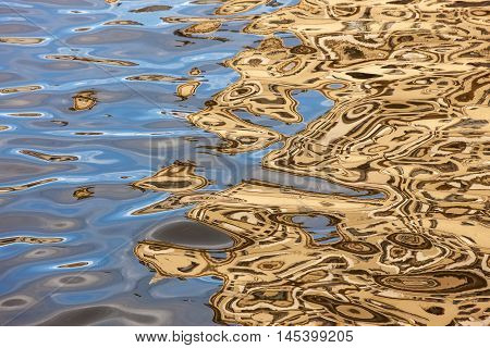 abstract golden reflections in the water of the river