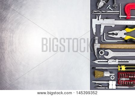 Hand Tools Vernier Caliper, Screwdrivers, Screws, Drills, Bits, Wrenches, Pliers, On Grey Background