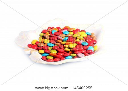 colorful jelly beans candy on porcelain plate