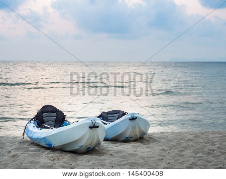 Kayaks on the tropical beach in Koh Kood Trad Thailand