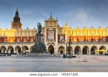 KRAKOW, POLAND - APRIL 03, 2015: KRAKOW, POLAND - APRIL 03, 2015: The Cloth Hall in the main square of Krakow on April 03, 2015.