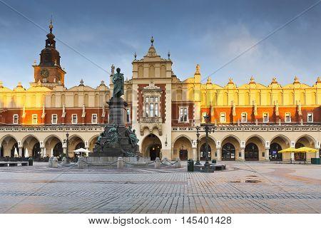 KRAKOW, POLAND - APRIL 03, 2015: KRAKOW, POLAND - APRIL 03, 2015: The Cloth Hall in the main square of Krakow on April 03, 2015.