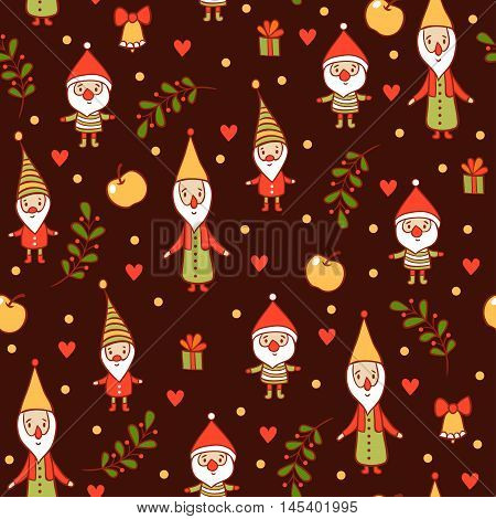 Seamless Christmas background. Christmas and New Years pattern. Holiday card with cute gnomes.