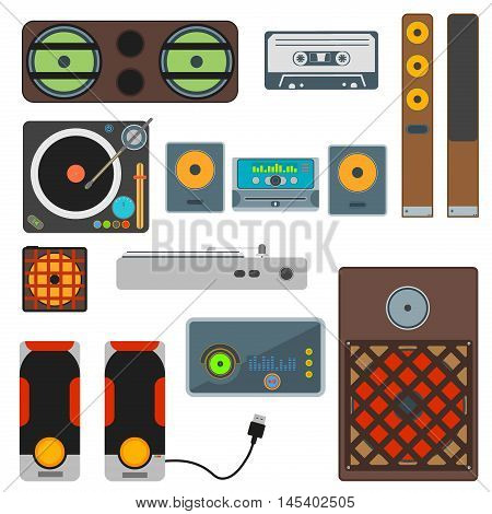 Vector set of audio and music systems icons loud volume entertainment. Loudspeakers isolated on white background. Speaker bass electronic musical acoustic systems stereo equipment technology.