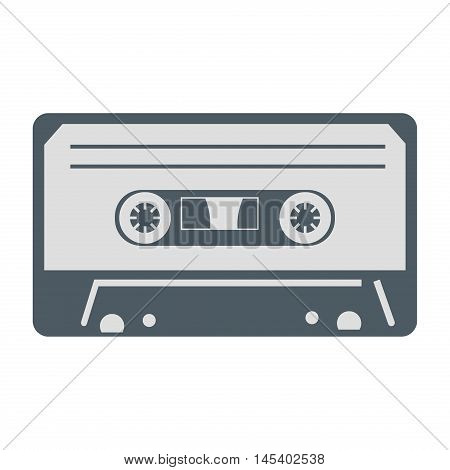 Audio cassette with tangled tape vector musical entertainment. Sound vintage cassette stereo audio tape mono obsolete technology. Retro music old record analogue audio tape listen equipment.