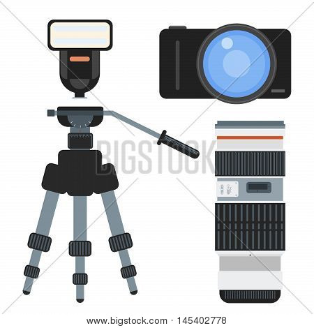 Professional photographer camera on tripod and photo studio lighting equipment. Flat style vector extendable selfie stick. Photographer accessory tripod icon set. Tripod equipment photography.