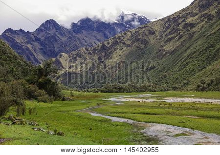 Mountain Valley And River. Huascaran National Park, Cordillera Blanca - Santa Cruz Circuit Trekking.