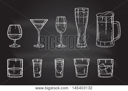 Set Drink Alcohol Glass.