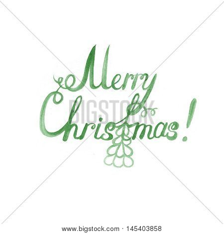 Wet brush watercolor lettering that says Merry Christmas.