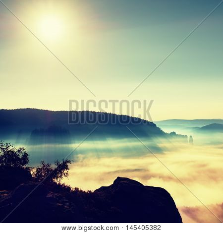 View over sandstone cliff into deep misty valley in Saxony Switzerland. Sandstone peaks increased from foggy background the fog is orange due to sunrise.