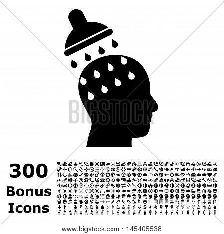 Brain Washing icon with 300 bonus icons. Glyph illustration style is flat iconic symbols, black color, white background.