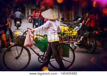 street vendor in Hanoi, Vietnam