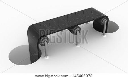 Cartoon symbolic conveyor and holes 3d illustration over white horizontal